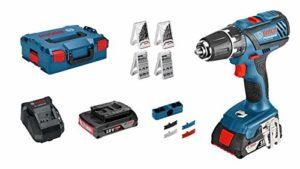 Bosch Professional Akku Bohrschrauber GSR 18-2-LI Plus (2x 2,0 Ah Akku, Ladegerät, 63 tlg Zubehörset, L-BOXX, 18 Volt, Schrauben-Ø: 8 mm, Drehmoment max: 63 Nm, Bohrfutter Spannbereich: 13 mm)